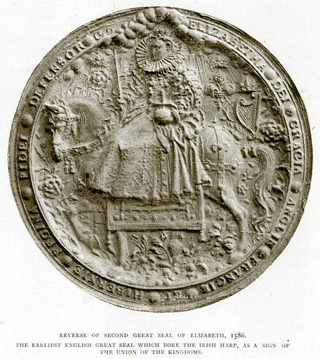 Reverse of Second Great Seal of Elizabeth, 1586. The Earliest English Great Seal which Bore the Irish Harp, as a Sign of the Union of the Kingdoms. Illustration from A Short History of the English People by J R Green (Macmillan, 1892).