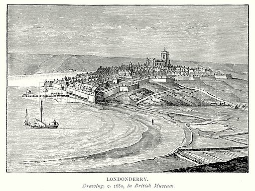 Londonderry. Illustration from A Short History of the English People by J R Green (Macmillan, 1892).