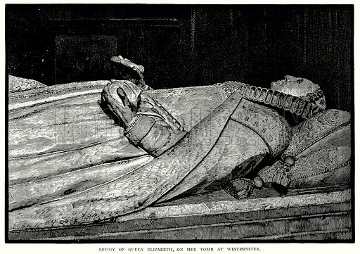 Effigy of Queen Elizabeth, on her Tomb at Westminster. Illustration from A Short History of the English People by JR Green (Macmillan, 1892).