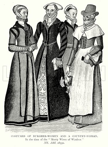 Costumes of Burgher-Women and a Country-Woman. Illustration from A Short History of the English People by JR Green (Macmillan, 1892).