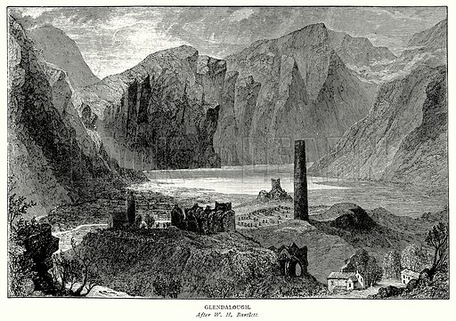 Glendalough. Illustration from A Short History of the English People by J R Green (Macmillan, 1892).