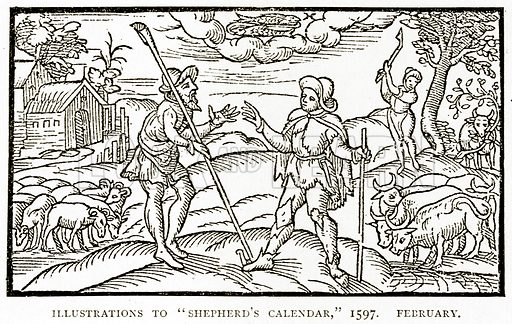 "Illustrations to ""Shepherd's Calendar,"" 1597. February. Illustration from A Short History of the English People by J R Green (Macmillan, 1892)."
