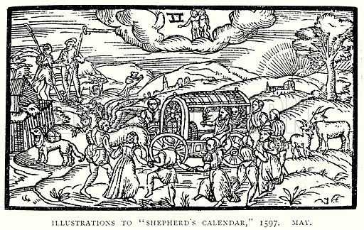 """Illustrations to """"Shepherd's Calendar,"""" 1597. May. Illustration from A Short History of the English People by J R Green (Macmillan, 1892)."""