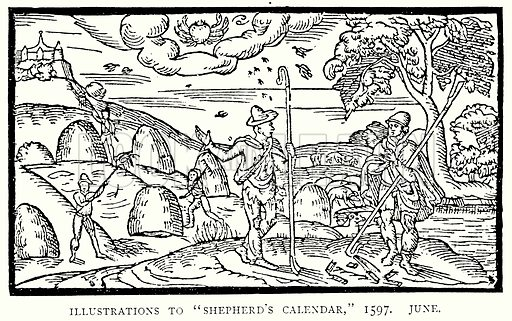 """Illustrations to """"Shepherd's Calendar,"""" 1597. June. Illustration from A Short History of the English People by J R Green (Macmillan, 1892)."""