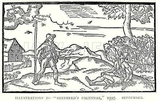 "Illustrations to ""Shepherd's Calendar,"" 1597. September. Illustration from A Short History of the English People by J R Green (Macmillan, 1892)."