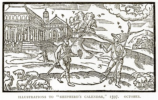 "Illustrations to ""Shepherd's Calendar,"" 1597. October. Illustration from A Short History of the English People by J R Green (Macmillan, 1892)."