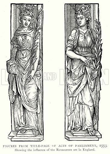 Figures from Title-Page of Acts of Parliament, 1553. Illustration from A Short History of the English People by J R Green (Macmillan, 1892).