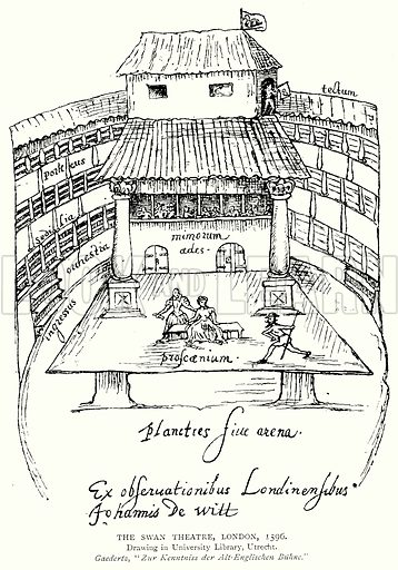 The Swan Theatre, London, 1596. Illustration from A Short History of the English People by JR Green (Macmillan, 1892).