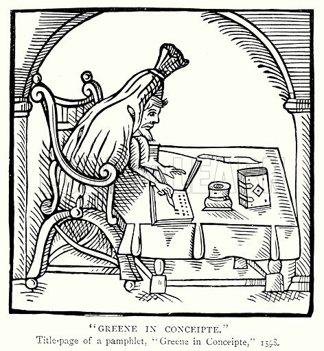 """""""Greene in Conceipte."""" Illustration from A Short History of the English People by J R Green (Macmillan, 1892)."""