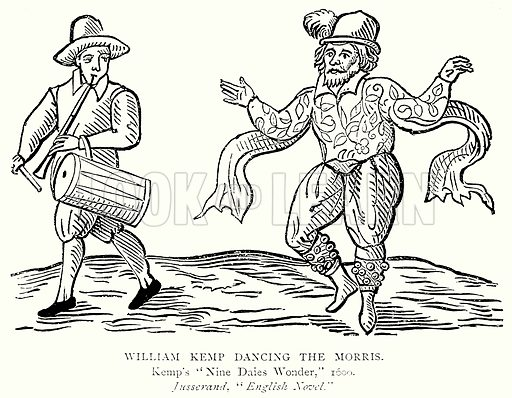 William Kemp Dancing the Morris. Illustration from A Short History of the English People by J R Green (Macmillan, 1892).