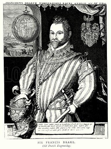 Sir Francis Drake. Illustration from A Short History of the English People by J R Green (Macmillan, 1892).
