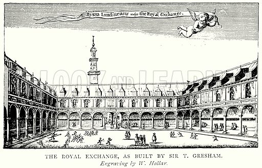 The Royal Exchange, as built by Sir T Gresham. Illustration from A Short History of the English People by JR Green (Macmillan, 1892).