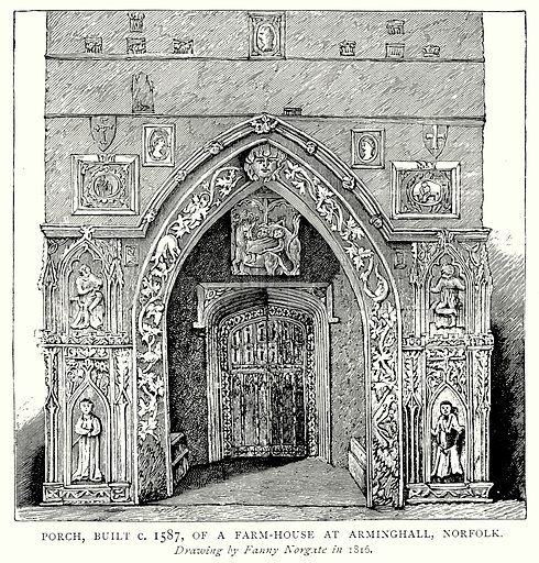 Porch, built c 1587, of a Farm-House at Arminghall, Norfolk. Illustration from A Short History of the English People by JR Green (Macmillan, 1892).