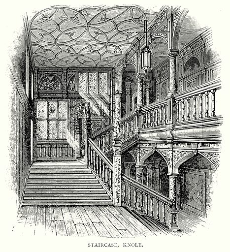 Staircase, Knole. Illustration from A Short History of the English People by J R Green (Macmillan, 1892).