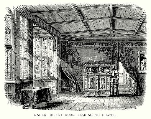Knole House: Room leading to Chapel. Illustration from A Short History of the English People by J R Green (Macmillan, 1892).