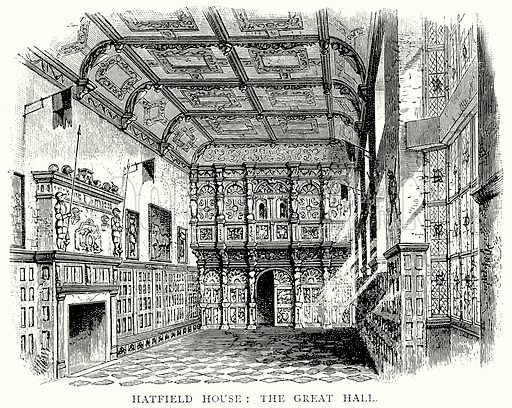 Hatfield House: The Great Hall. Illustration from A Short History of the English People by J R Green (Macmillan, 1892).