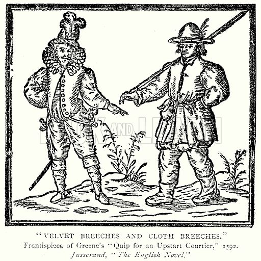 """Velvet Breeches and Cloth Breeches."" Illustration from A Short History of the English People by J R Green (Macmillan, 1892)."