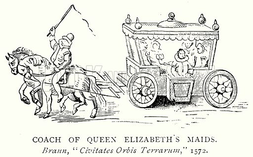 Coach of Queen Elizabeth's Maids. Illustration from A Short History of the English People by J R Green (Macmillan, 1892).