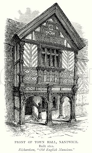 Front of Town Hall, Nantwich. Illustration from A Short History of the English People by J R Green (Macmillan, 1892).