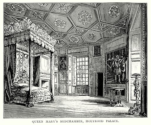 Queen Mary's Bedchamber, Holyrood Palace. Illustration from A Short History of the English People by J R Green (Macmillan, 1892).