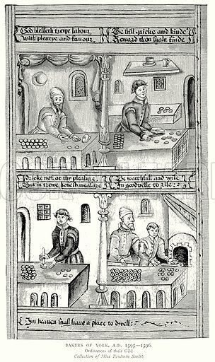 Bakers of York, AD 1595 – 1596. Ordinances of their Gild. Illustration from A Short History of the English People by JR Green (Macmillan, 1892).