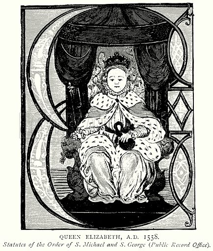 Queen Elizabeth, A.D. 1558. Illustration from A Short History of the English People by J R Green (Macmillan, 1892).