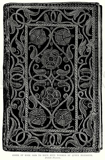 Cover of Book said to have been worked by Queen Elizabeth. Illustration from A Short History of the English People by J R Green (Macmillan, 1892).