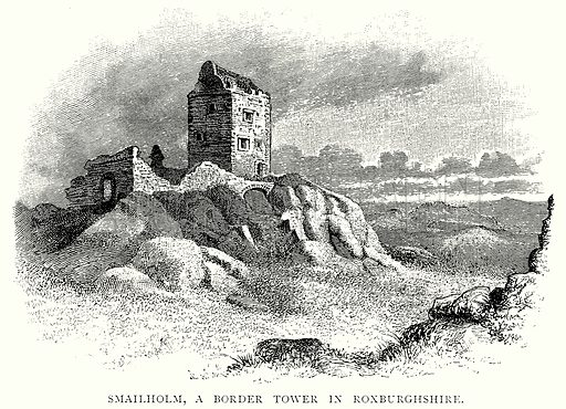Smailholm, a Border Tower in Roxburghshire. Illustration from A Short History of the English People by J R Green (Macmillan, 1892).