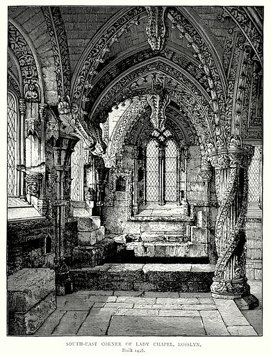 South-East Corner of Lady Chapel, Rosslyn. Illustration from A Short History of the English People by J R Green (Macmillan, 1892).