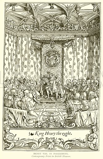 Henry VIII in Parliament. Illustration from A Short History of the English People by JR Green (Macmillan, 1892).