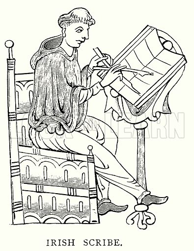 Irish Scribe. Illustration from A Short History of the English People by JR Green (Macmillan, 1892).