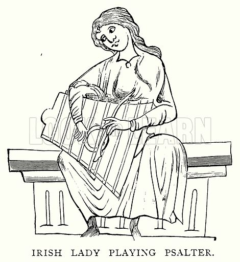 Irish Lady playing Psalter. Illustration from A Short History of the English People by J R Green (Macmillan, 1892).