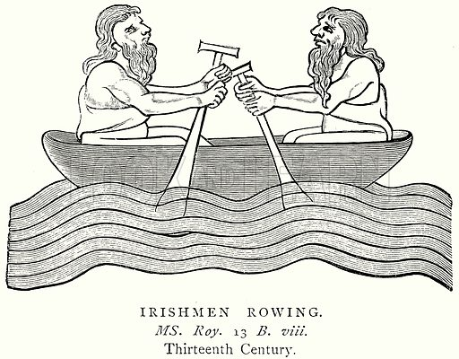 Irishmen Rowing. Illustration from A Short History of the English People by JR Green (Macmillan, 1892).
