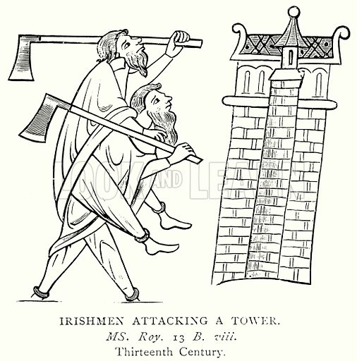Irishmen attacking a Tower. Illustration from A Short History of the English People by J R Green (Macmillan, 1892).