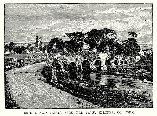Bridge and Friary (Founded 1478), Kilcrea, Co. Cork. Illustration from A Short History of the English People by J R Green (Macmillan, 1892).