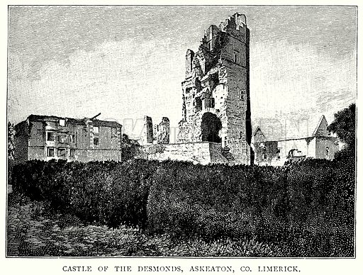 Castle of the Desmonds, Askeaton, Co. Limerick. Illustration from A Short History of the English People by J R Green (Macmillan, 1892).