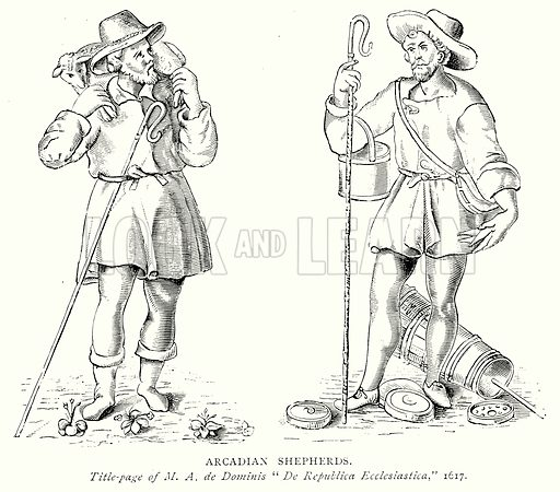 Arcadian Shepherds. Illustration from A Short History of the English People by J R Green (Macmillan, 1892).