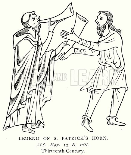 Legend of S. Patrick's Horn. Illustration from A Short History of the English People by J R Green (Macmillan, 1892).