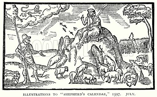 "Illustrations to ""Shepherd's Calendar,"" 1597. July. Illustration from A Short History of the English People by J R Green (Macmillan, 1892)."