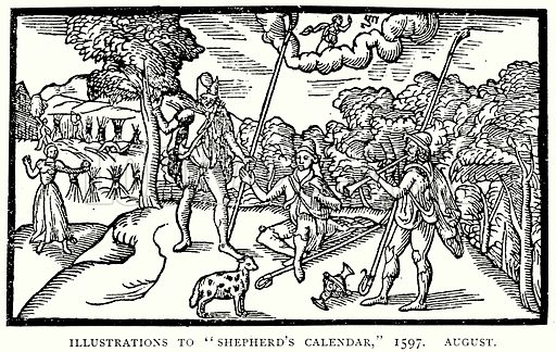 """Illustrations to """"Shepherd's Calendar,"""" 1597. August. Illustration from A Short History of the English People by J R Green (Macmillan, 1892)."""
