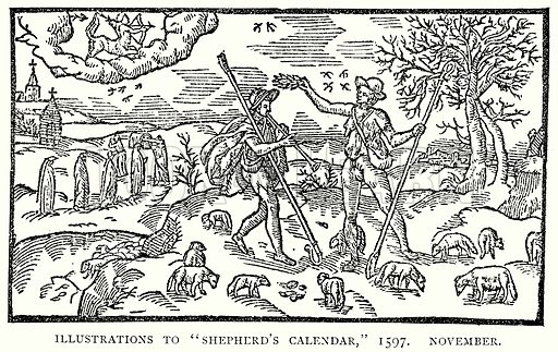 "Illustrations to ""Shepherd's Calendar,"" 1597. November. Illustration from A Short History of the English People by J R Green (Macmillan, 1892)."