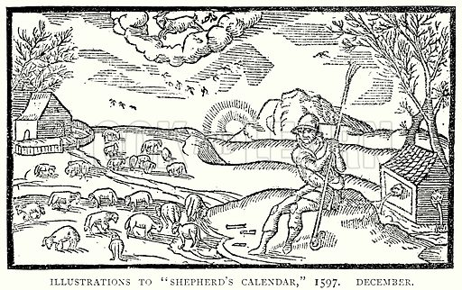 """Illustrations to """"Shepherd's Calendar,"""" 1597. December. Illustration from A Short History of the English People by J R Green (Macmillan, 1892)."""
