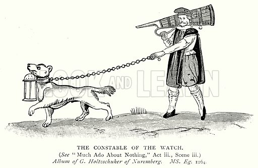 The Constable of the Watch. Illustration from A Short History of the English People by J R Green (Macmillan, 1892).