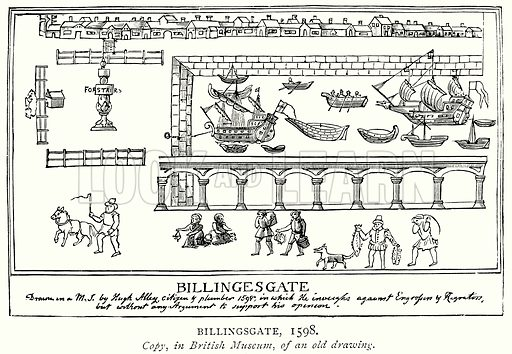 Billingsgate, 1598. Illustration from A Short History of the English People by J R Green (Macmillan, 1892).