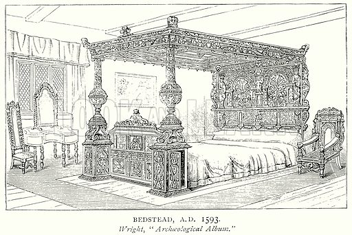 Bedstead, A.D. 1593. Illustration from A Short History of the English People by J R Green (Macmillan, 1892).