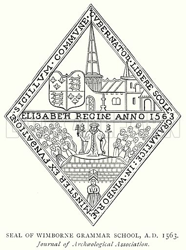 Seal of Wimborne Grammar School, A.D. 1563. Illustration from A Short History of the English People by J R Green (Macmillan, 1892).