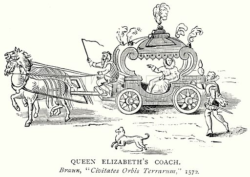Queen Elizabeth's Coach. Illustration from A Short History of the English People by J R Green (Macmillan, 1892).