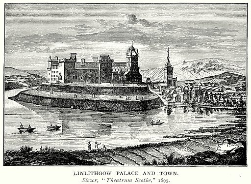 Linlithgow Palace and Town. Illustration from A Short History of the English People by J R Green (Macmillan, 1892).