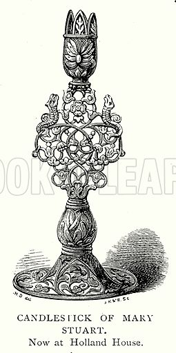 Candlestick of Mary Stuart. Illustration from A Short History of the English People by J R Green (Macmillan, 1892).