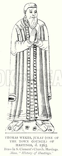 Thomas Wekes, Jurat (One of the Town Council) of Hastings, d. 1563. Illustration from A Short History of the English People by J R Green (Macmillan, 1892).